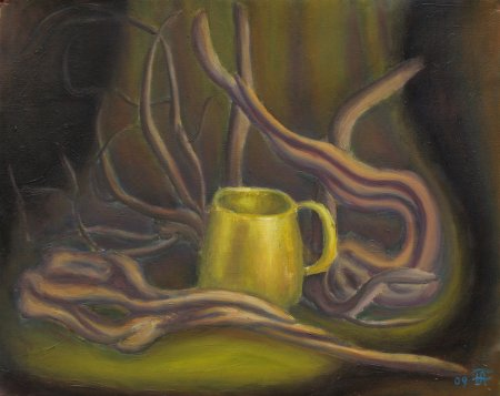 """Brass Mug amongst Roots"" 16"" x 20"", 40.64 x 50.8 cm, 2009"