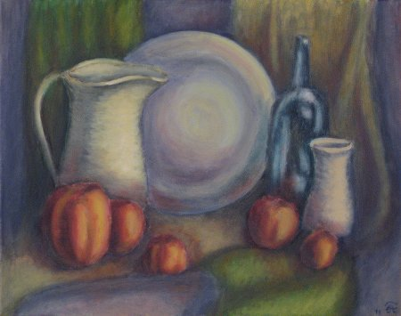 """Ceramic, Glass & Apples"" Oil on Canvas, 15.75""  x 19.75"""