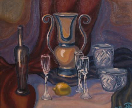 """Ceramic and Glass"" Oil on Canvas, 20"" x 24"", 50 x 60 cm, 2005"