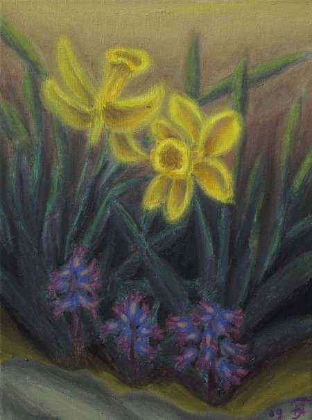 """Daffodils"" Oil on Canvas, 12"" x 16"", 30.5 x 40.7 cm, yr 2009"