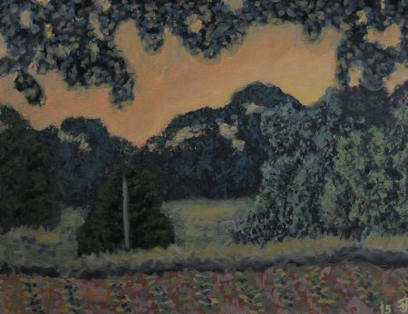 "Dusk on the Frazier Farm Oil on Panel, 18"" x 24"", 45.7 x 61 cm, 2015"