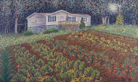 """Home and Garden (52 Lydia Ln)"", Oil on Canvas, 30 "" x 48"", 76.2 x 121.9 cm, 2015"