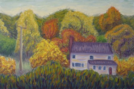 """House in the Country (Autumn)"" 24"" x 36"", 61 x 91.5 cm, yr 2009"