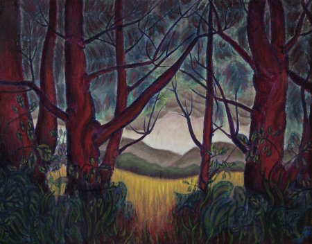 """Pine Forest Edge"" oil on canvas, 23"" x 30"", 58.5 x 76.25 cm, yr 2008"