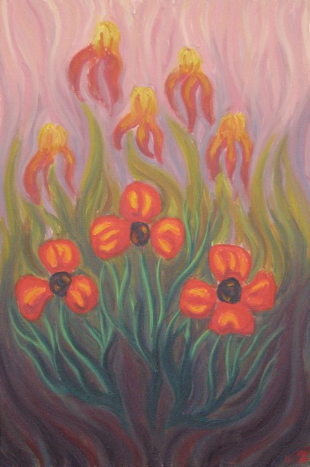 """Poppies & Irises"" Oil on Canvas, 30"" x 20"", 76.2 x 50.8 cm, yr 2011"