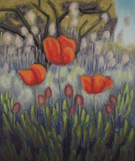 """Poppies"" Oil on Canvas, 24"" X 20"", 61 x 50.8 cm, yr 2009"