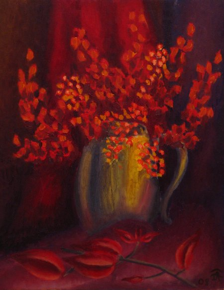 """Still Life in Red"" oil on canvas, 20"" x 16"", 51 x 41 cm, 2009"