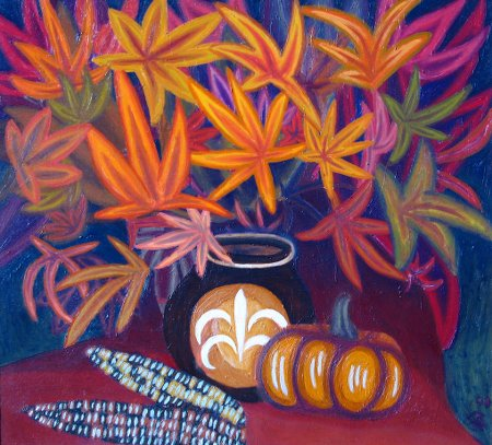 """Still-Life with Giant Leaves"" Oil on Canvas, 22"" x 25"", 56 x 63.5 cm, 2009"