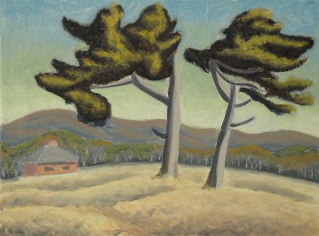 """Two Pines"" Oil on canvas, 18"" x 24"", 45.75 x 61 cm, yr 2009"