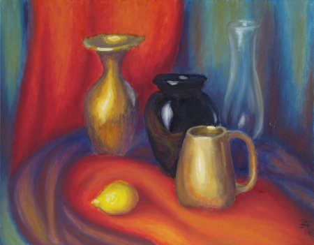 """Vases, Cup and Lemon"" Oil on Canvas, 18"" x 24"", 45.75 x 61 cm, 2009"