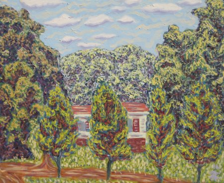 "View from 52 Lydia Ln (Summer), Oil on Canvas, 24"" x 20"", 61 x 50.8 cm, yr 2016"
