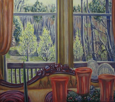 """View from Window (52 Lydia Ln)"" Oil on Canvas, 24"" x 30"", 61 x 76.2 cm, 2015"