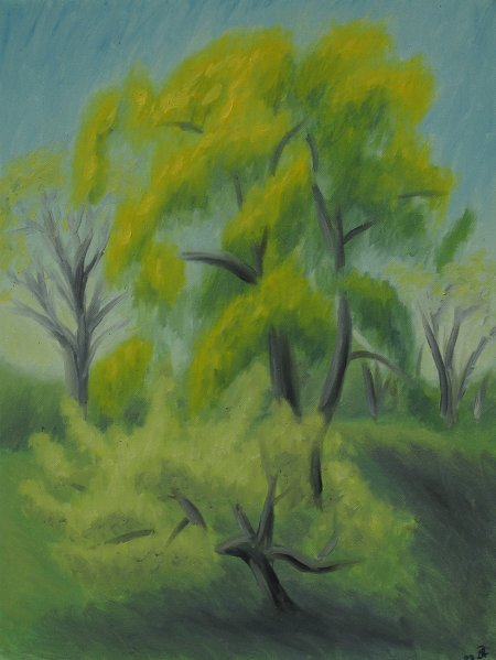 """Willow and Apple Tree"" Oil on Canvas, 24"" X 18"", 61 x 45.75 cm, yr 2009"