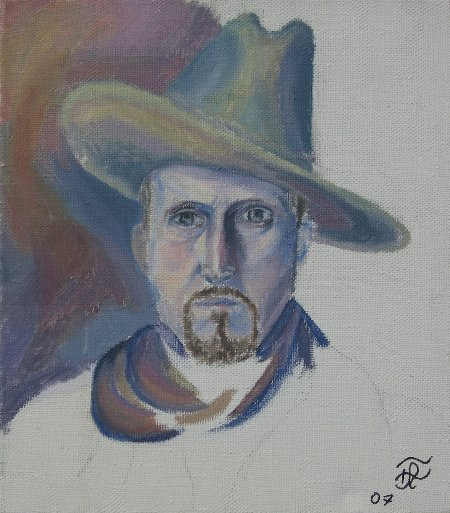 """Winter (Unfinished)"" Oil on canvas, 15.75"" x 15.75"", 40 x 40 cm, 2007"
