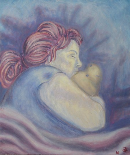 "Susan Freund (My Wife) asleep with Puh Bear Oil on Canvas, 24"" x 20"" 61 x 51 cm, 2016"