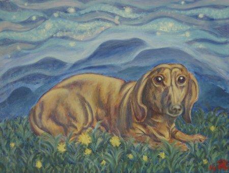 """Crystal Scott's Dog"" Oil on Canvas, 20"" x 24"", 50.8 x 60.96 cm, 2014"