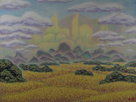 "Imaginary Pasture Land, Oil on Canvas, 36.3"" x 48.3"", 92.2 x 122.7 cm, yr 2015"